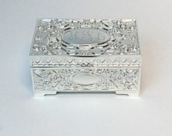 Personalized Jewelry Box, Engraved Silver Jewelry Box
