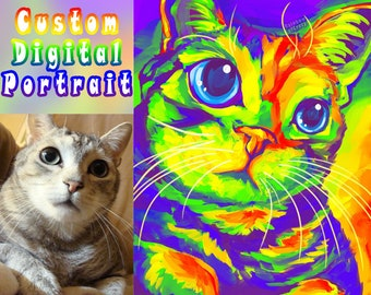 Custom Pet Portrait DIGITAL Painting, RAINBOW Art, Cat Illustration, Dog Lovers, Memorial Gift, Digital File Only