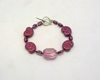 Violet Nautilus Shell Bracelet. One of a Kind. Ocean Inspired Jewelry. Fibonacci Fan Jewelry.  Violet Swarovski w/Shell Beads & Pewter clasp