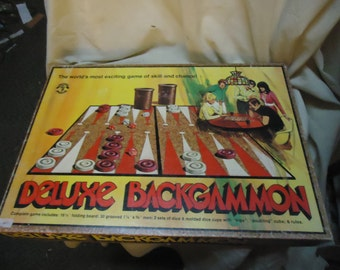 Vintage 1973 Deluxe Backgammon and Checkers Board Game, COMPLETE, collectable