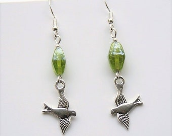 Bird Earrings With Sterling Silver Hooks And Green Indian Glass Beads New LB123