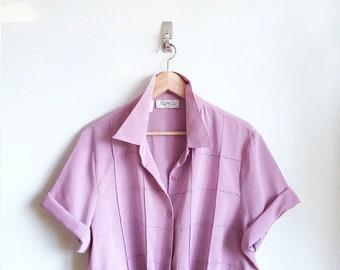 Lavender Grid Pattern Blouse / Vintage Boxy Blouse / Button Down 80s Pastel Top
