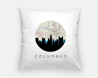 Columbus pillow | Columbus Map Pillow | Columbus Illinois pillow | Columbus home decor | throw pillow | city skyline pillow