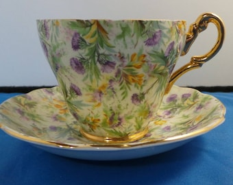 Vintage Regency Bone China Tea cup and saucer Thistles