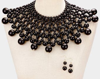Black Pearl Bib Choker Necklace