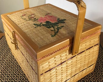 Woven Bamboo Sewing Basket from Taiwan 1970s
