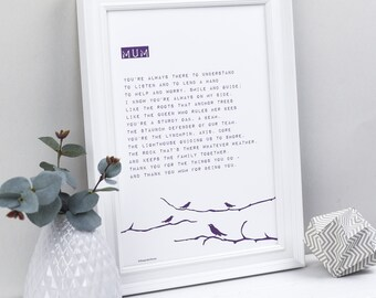 Mum Poem - Gift for Mum - Mothers Day Poem- Personalised Mum Print - Mothers Day Gift - Thanks Mum gift - Personalised Mothers Day