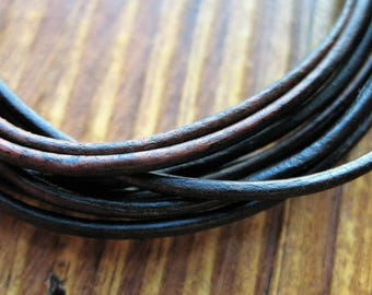 Round Leather Cord in Antique Brown - 1.5mm - 5 feet
