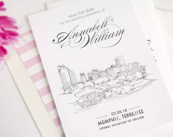 Memphis Skyline Save the Date Cards, Save the Dates, STD, Tennessee Wedding (set of 25 cards)