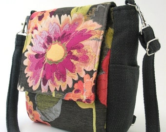 women backpack converts to messenger bag, crossbody bag, floral purse, grey handbag, zipper bag, fits IPAD, zipper backpack
