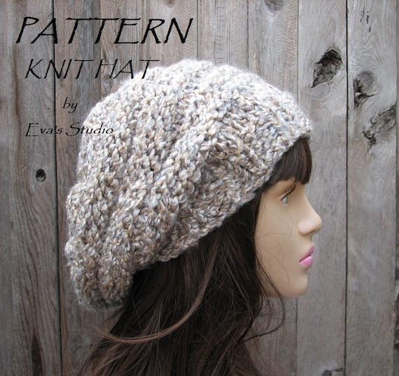 Knit Hat Pattern Knitting Pattern Slouchy Beret Knitted