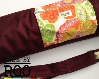 Yoga Bag-Burgundy and Floral Print