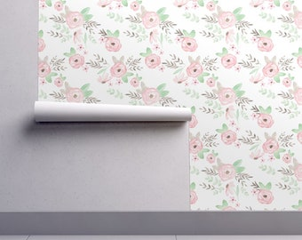 Pink Floral Wallpaper - Charlotte Floral By Pacemadedesigns - Floral Custom Printed Removable Self Adhesive Wallpaper Roll by Spoonflower