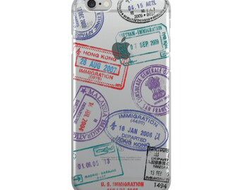 Passport Stamps iPhone Case Clear Transparent Travel Phone Cases Cover 5/5S/6/6S/6PLUS/7/7PLUS/8/8PLUS/X KYOUSTUFF