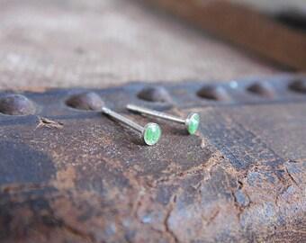 Green Dot Stud Earrings