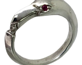 14k Ruby Flamingo Ring, FREE SIZING