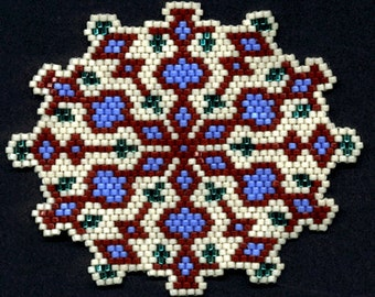 Digital PDF File Set of 5 Bead Stitch Patterns in Brick Stitch Beaded Kaleidoscope Ornaments Suncatchers