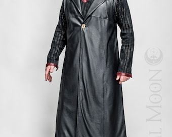 """NEW: Men's Black Textured Faux Leather """"Druid Duster"""" REVERSIBLE to Black or Red by Opal Moon Designs (Size S-XXL)"""