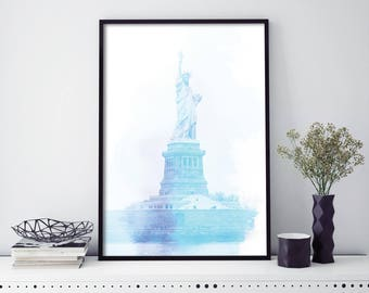 Statue of Liberty, New York Watercolour Print Wall Art | 4x6 5x7 A4 A3 A2