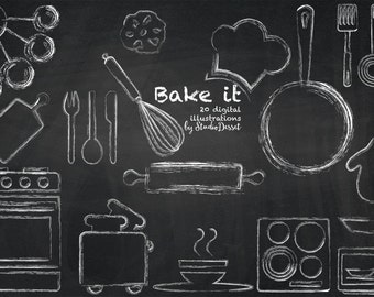 Chalk Kitchen Clipart, Chalkboard Cliparts, Oven Clip Art, Bum in the Oven, Utensils, Microwave, White Overlays - Personal & Commercial Use