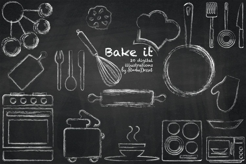 Chalk Kitchen Clipart Chalkboard Cliparts Oven Clip Art Bum