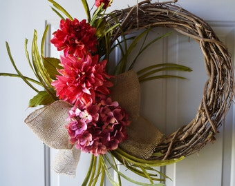 Hydrangea Wreath, Rustic Door Wreath, Mums Chrysanthemum Hydrangea Wreath with Burlap Bow