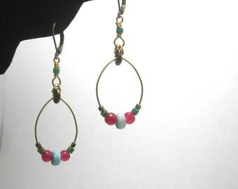 Larimar Ruby and Turquoise Brass Hoop Earrings