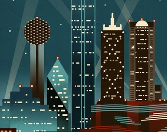 Dallas, Texas - Retro Skyline - Lantern Press Artwork (Art Print - Multiple Sizes Available)