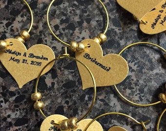Bride & Groom/Wedding Date Wine Charms!!Gold Wine Charms, Gold Wedding Favors