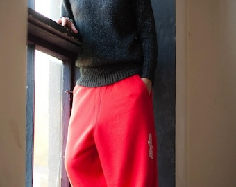 Red Sweatpants for woman man, baggy red Pants,  Casual Heavy Duty Cotton Pants, Loose fit pants, drop crotch sweatpants, red trousers