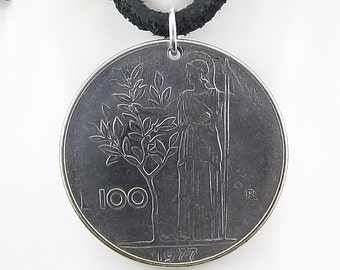1977 Italian Coin Necklace, 100 Lire, Mens Necklace, Womens Necklace, Coin Pendant, Leather Cord, Vintage