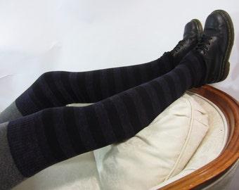 Striped Thigh High Socks Anime Leg Warmers Purple / Black Stripe Over the Knee Socks Boot Socks A1142