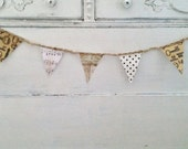 Braided Jute Bunting Polka Dot Skeleton Key Music Note Map Steampunk Party Pennants 9 Flags Shabby Room Decor Wall Hanging Steampunk Wedding