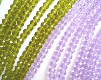 114 faceted rondel glass beads, 8 x 6 mm lime green or lilac purple beads, 2 strands of 13 inch long rondelle glass beads, Bulk glass beads