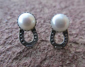 Horse Jewelry Sterling Silver Pearl Horse Shoe Earrings