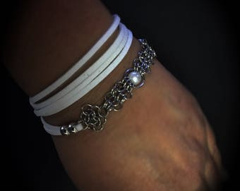 Bracelet suede and mesh