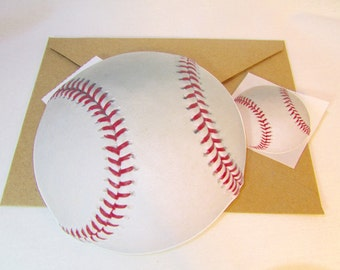 Baseball Coach Gift Card Holder / Baseball Birthday Card / Softball Coach Gift / From the Team Card / Ball Shaped Card / Custom Personalized