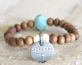 GRATEFUL Sandalwood bracelet. Mala Bead Bracelet • Sandalwood Beads • Yoga Charm Bracelet • Inspirational Bracelet • Motivational Jewelry