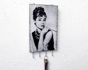 Key Holder for wall - Audrey Hepburn, wall key holder white, Hand Made key holder, key organizer wall, key storage rustic, key holder wall