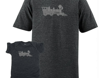 Father Son Matching Baby Train Engine Matching Father Son Shirts For Dad T shirts Fathers Day present, dad shirt gift new dad, For Husband