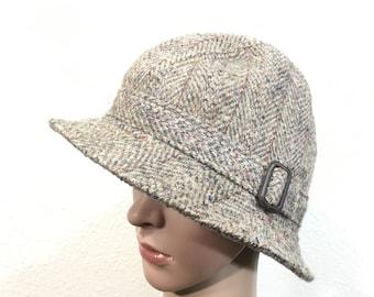 80's euro vintage harrit tweed wool hat fedoras made in scotland size 6 7/8