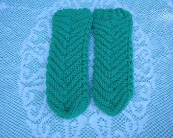 Beautiful Green Bed Socks Hand Knitted for  Women.