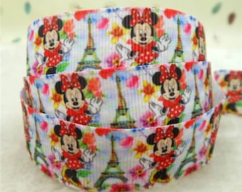Minnie Mouse with Eiffel Tower in Paris 7/8 inch Grosgrain Ribbon