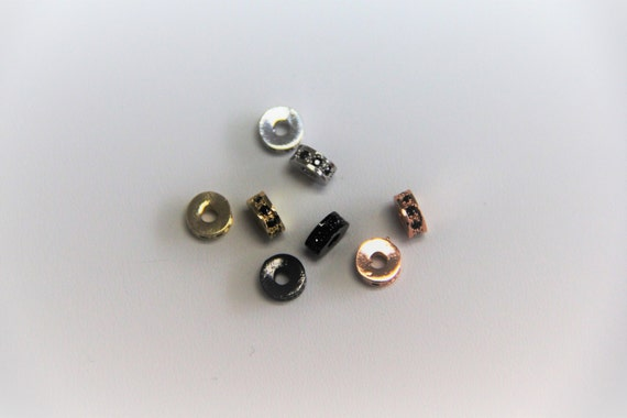 Black CZ Micro Pave 7mm Spacer Beads