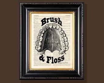 """Fine Art Print - """"Brush & Floss"""" - 8.5""""x11"""", Vintage Dentist print, Orthodontist gift, Dentist gift, Dental Assistant,  Dentist Office decor"""