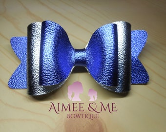 Blue and Silver Metallic Bow