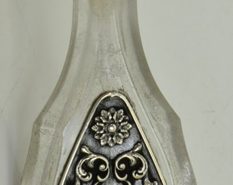 Antique Victorian Doctor's Skull&Bones crystal and silver pocket POISON bottle c1850's.Rare