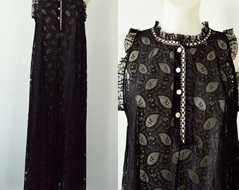 Vintage Nightgown, Vintage Nightgowns, Vintage Black Nightgown, 1960s Nightgown, Romantic,  Perri Ann, Lingerie, Black Lace