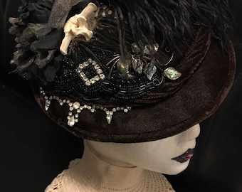 Rhinestone Eyes - One of a Kind Reconstructed And Upcycled Vintage Facinator Hat - Part of the Mid Winters Dream Collection