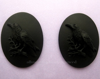 2 Gothic Crow Raven Blackbird Black Bird Witch Wiccan Voodoo Goth Emo BLACK on BLACK 40mm x 30mm Resin CAMEOS Lot for Costume Jewelry